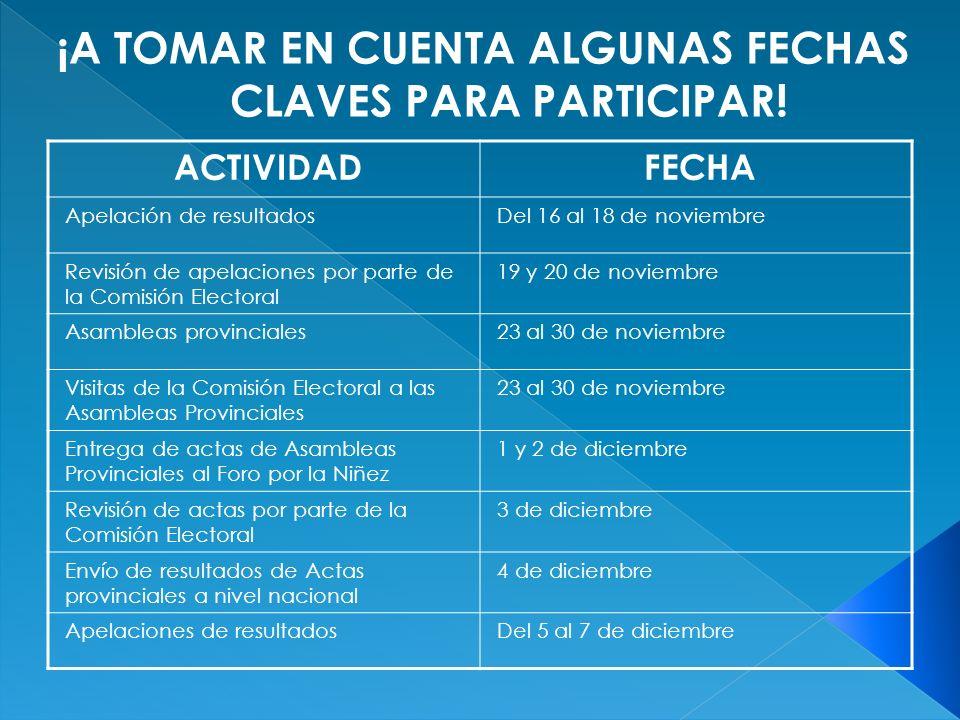 ACTIVIDADFECHA Apelación de resultadosDel 16 al 18 de noviembre Revisión de apelaciones por parte de la Comisión Electoral 19 y 20 de noviembre Asambl