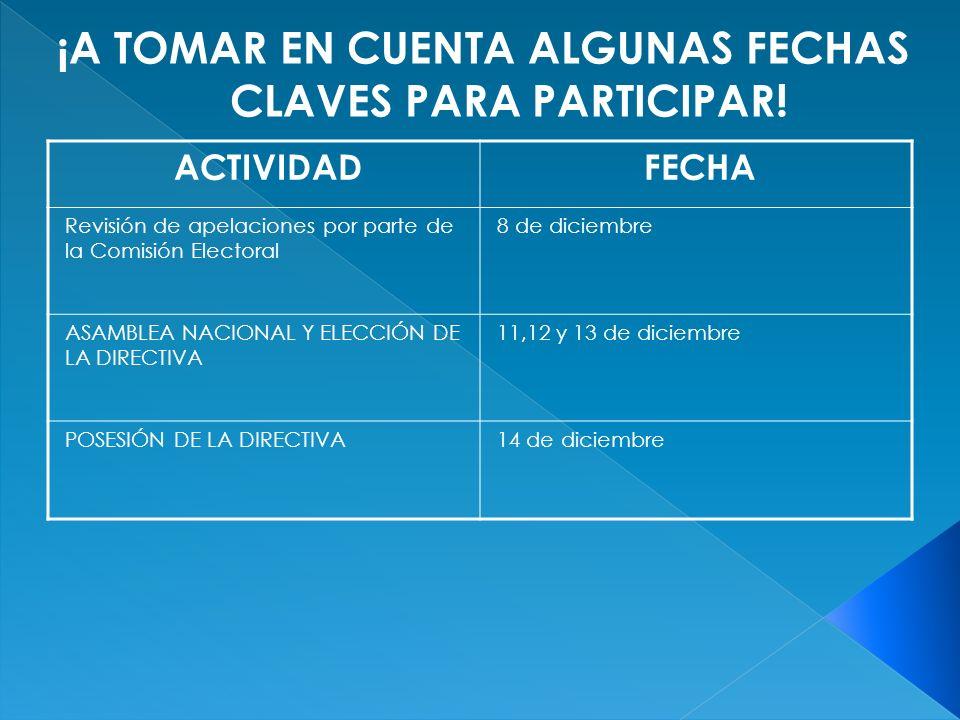 ACTIVIDADFECHA Revisión de apelaciones por parte de la Comisión Electoral 8 de diciembre ASAMBLEA NACIONAL Y ELECCIÓN DE LA DIRECTIVA 11,12 y 13 de diciembre POSESIÓN DE LA DIRECTIVA14 de diciembre