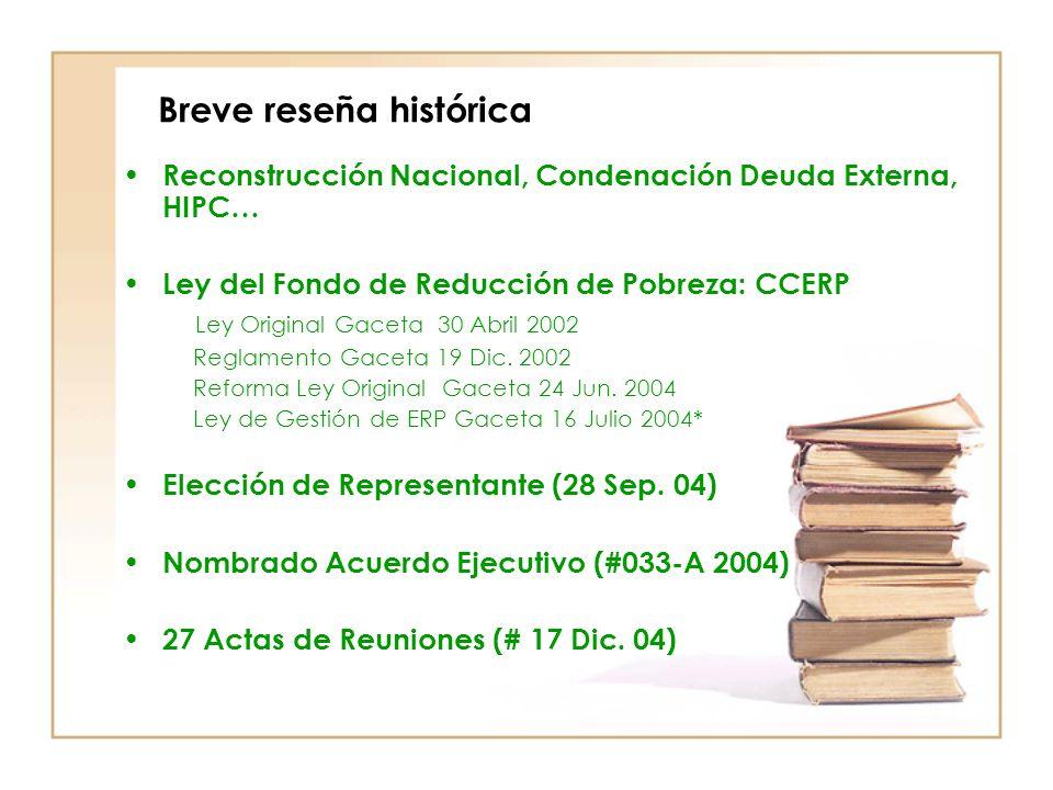 Breve reseña histórica Reconstrucción Nacional, Condenación Deuda Externa, HIPC… Ley del Fondo de Reducción de Pobreza: CCERP Ley Original Gaceta 30 Abril 2002 Reglamento Gaceta 19 Dic.