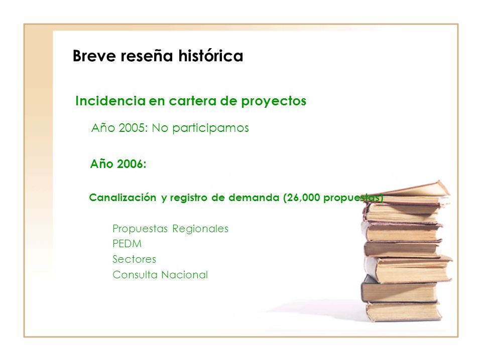 Breve reseña histórica Incidencia en cartera de proyectos Año 2005: No participamos Año 2006: Canalización y registro de demanda (26,000 propuestas) Propuestas Regionales PEDM Sectores Consulta Nacional