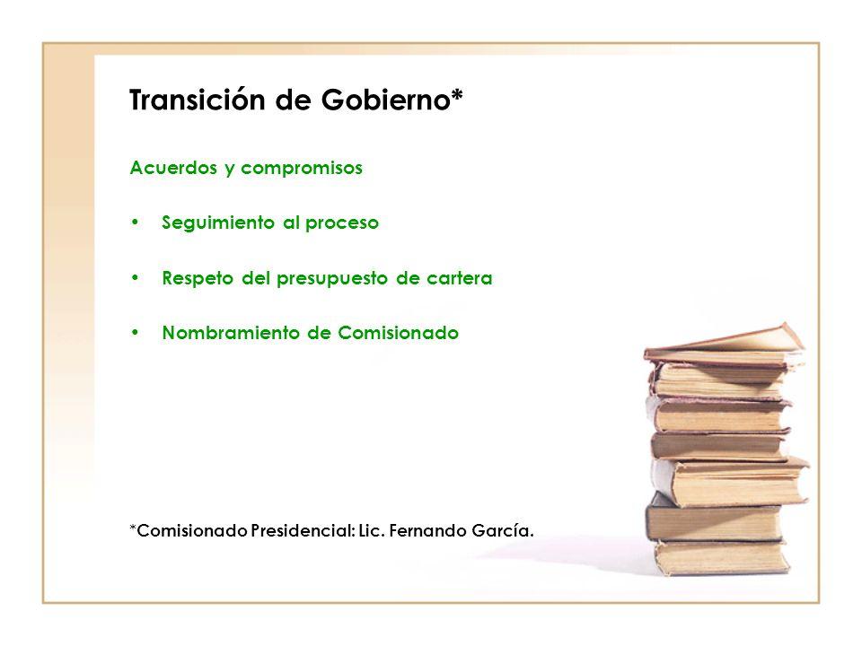 Transición de Gobierno* Acuerdos y compromisos Seguimiento al proceso Respeto del presupuesto de cartera Nombramiento de Comisionado * Comisionado Presidencial: Lic.