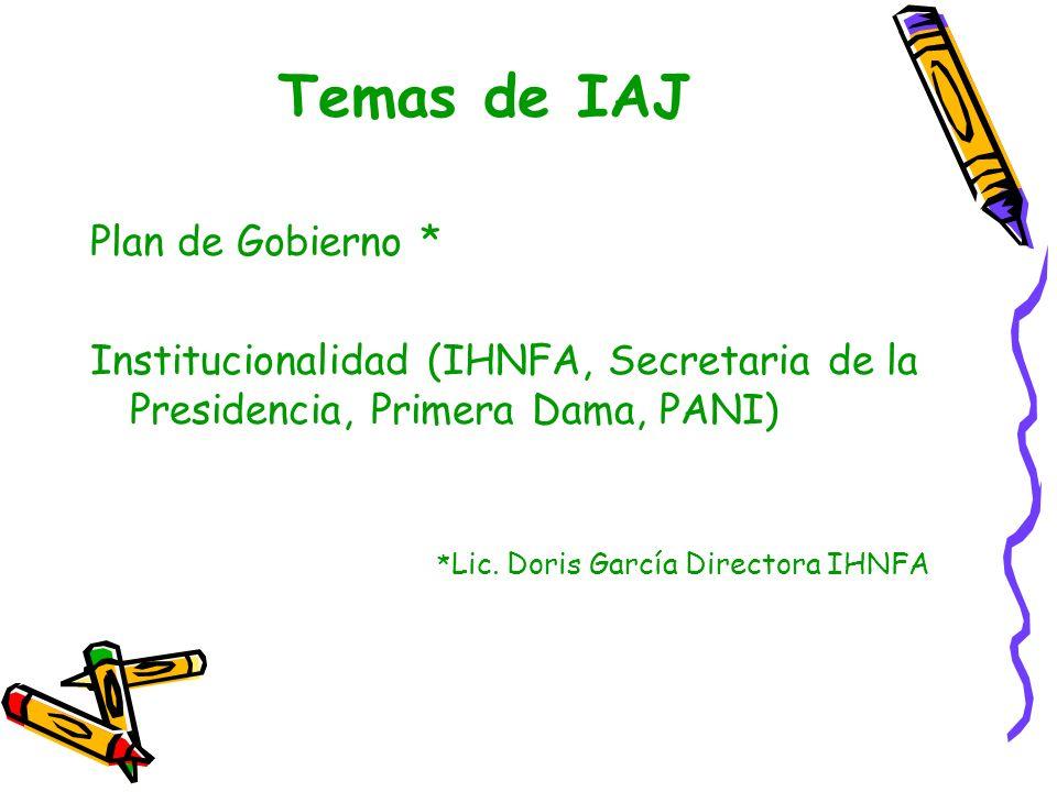 Temas de IAJ Plan de Gobierno * Institucionalidad (IHNFA, Secretaria de la Presidencia, Primera Dama, PANI) * Lic. Doris García Directora IHNFA
