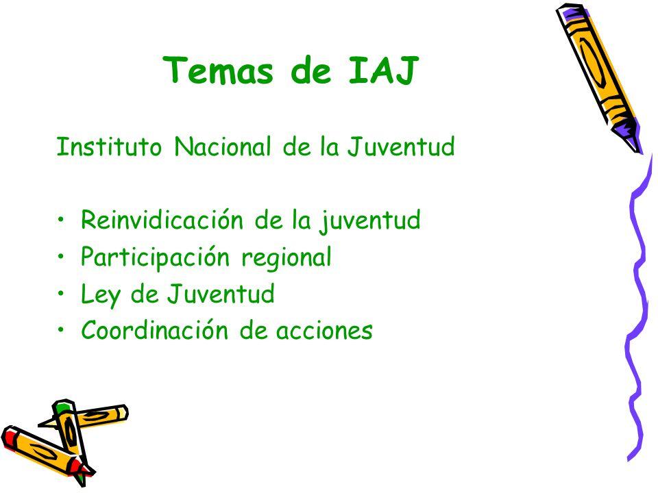 Temas de IAJ Plan de Gobierno * Institucionalidad (IHNFA, Secretaria de la Presidencia, Primera Dama, PANI) * Lic.