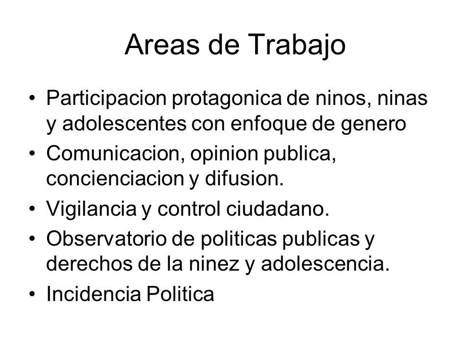 Areas de Trabajo Participacion protagonica de ninos, ninas y adolescentes con enfoque de genero Comunicacion, opinion publica, concienciacion y difusion.