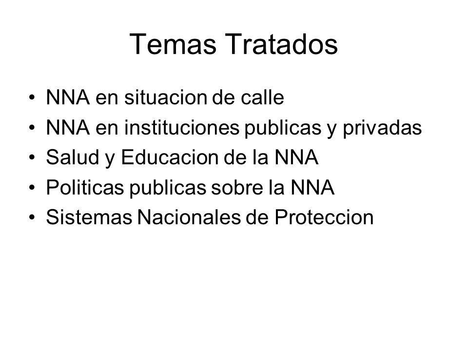 Temas Tratados NNA en situacion de calle NNA en instituciones publicas y privadas Salud y Educacion de la NNA Politicas publicas sobre la NNA Sistemas Nacionales de Proteccion