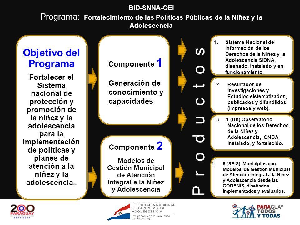 BID-SNNA-OEI Programa: Fortalecimiento de las Políticas Públicas de la Niñez y la Adolescencia CODENI Consejo Municipal Consejo Departamental (Instituciones de Servicio) Consejo Nacional (Instituciones de Servicio a Nivel Nacional) Usuarios Toda la ciudadanía
