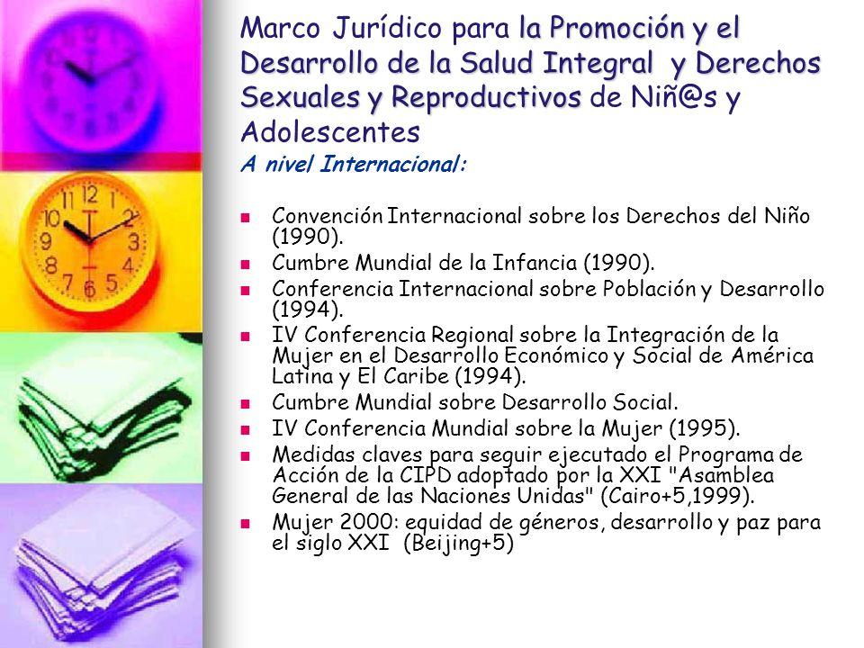 la Promoción y el Desarrollo de la Salud Integral y Derechos Sexuales y Reproductivos Marco Jurídico para la Promoción y el Desarrollo de la Salud Int