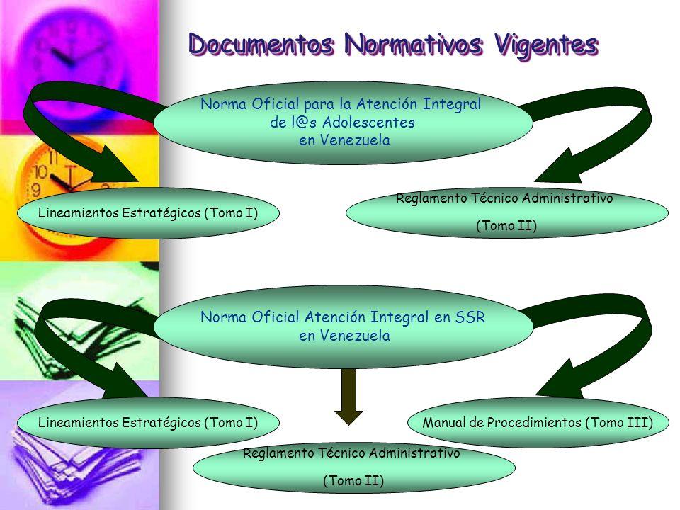 Documentos Normativos Vigentes Norma Oficial para la Atención Integral de l@s Adolescentes en Venezuela Lineamientos Estratégicos (Tomo I) Reglamento