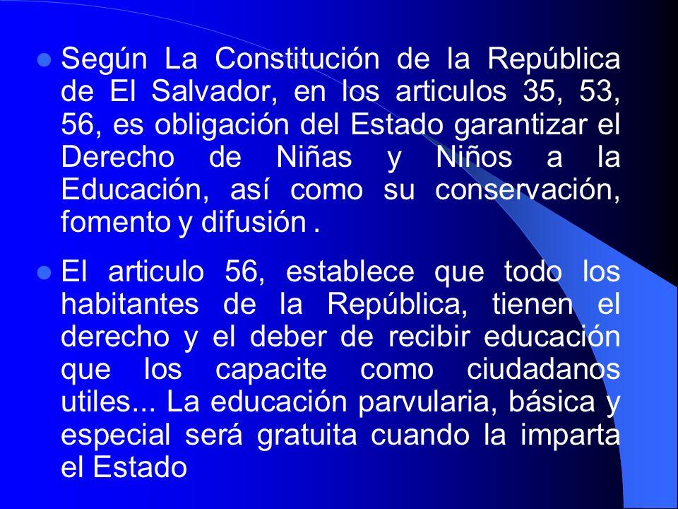 Según La Constitución de la República de El Salvador, en los articulos 35, 53, 56, es obligación del Estado garantizar el Derecho de Niñas y Niños a l