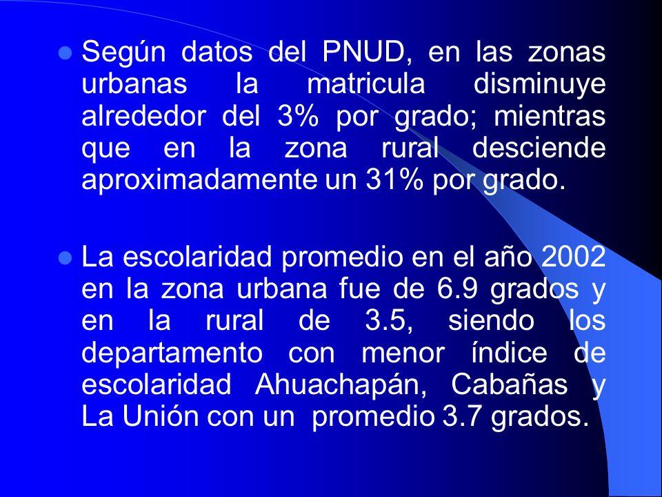 Según datos del PNUD, en las zonas urbanas la matricula disminuye alrededor del 3% por grado; mientras que en la zona rural desciende aproximadamente