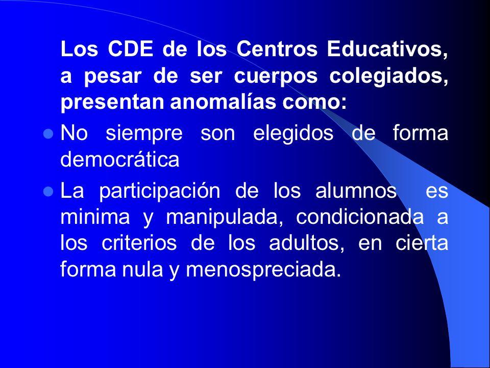 Los CDE de los Centros Educativos, a pesar de ser cuerpos colegiados, presentan anomalías como: No siempre son elegidos de forma democrática La partic