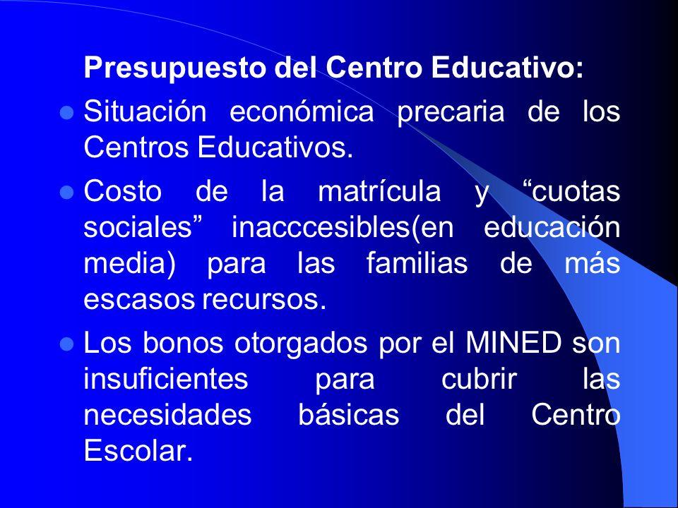 Presupuesto del Centro Educativo: Situación económica precaria de los Centros Educativos. Costo de la matrícula y cuotas sociales inacccesibles(en edu