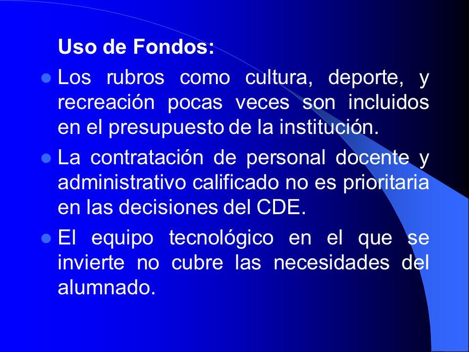 Uso de Fondos: Los rubros como cultura, deporte, y recreación pocas veces son incluidos en el presupuesto de la institución. La contratación de person