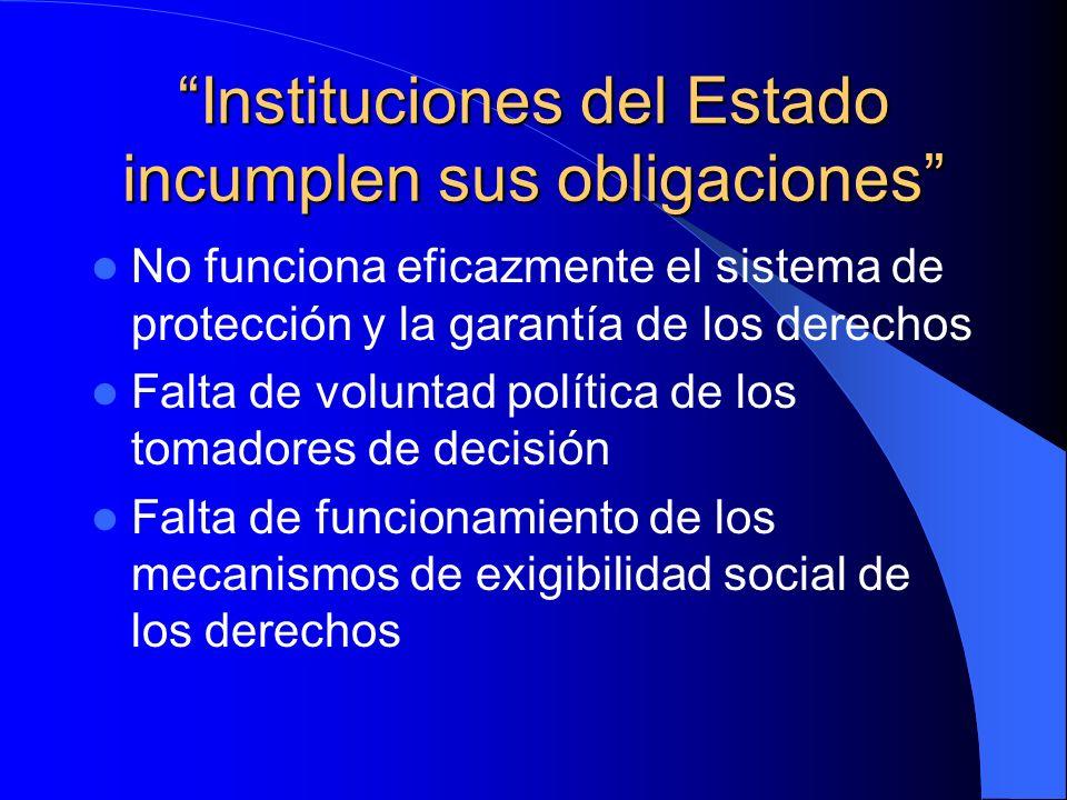 No funciona eficazmente el sistema de protección y la garantía de los derechos Falta de voluntad política de los tomadores de decisión Falta de funcio