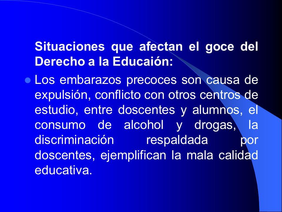 Situaciones que afectan el goce del Derecho a la Educaión: Los embarazos precoces son causa de expulsión, conflicto con otros centros de estudio, entr