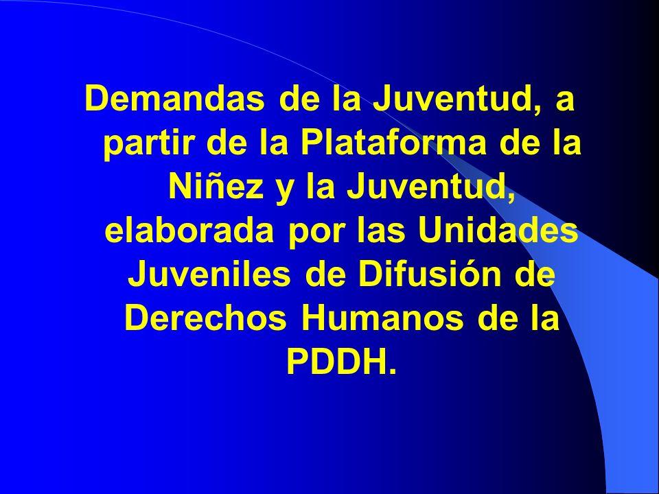 Demandas de la Juventud, a partir de la Plataforma de la Niñez y la Juventud, elaborada por las Unidades Juveniles de Difusión de Derechos Humanos de