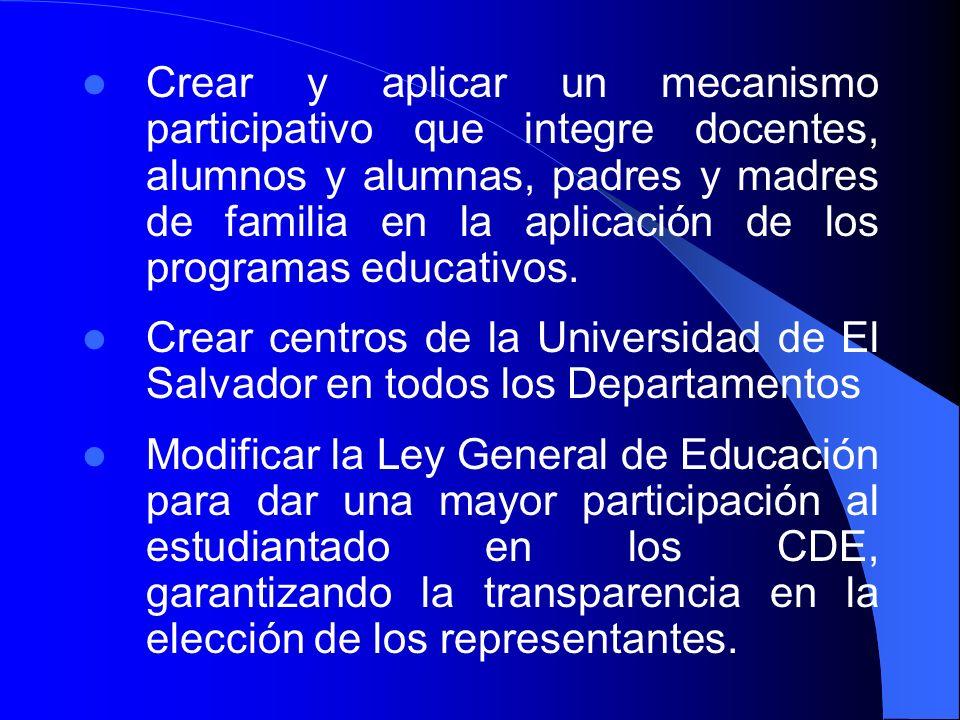 Crear y aplicar un mecanismo participativo que integre docentes, alumnos y alumnas, padres y madres de familia en la aplicación de los programas educa