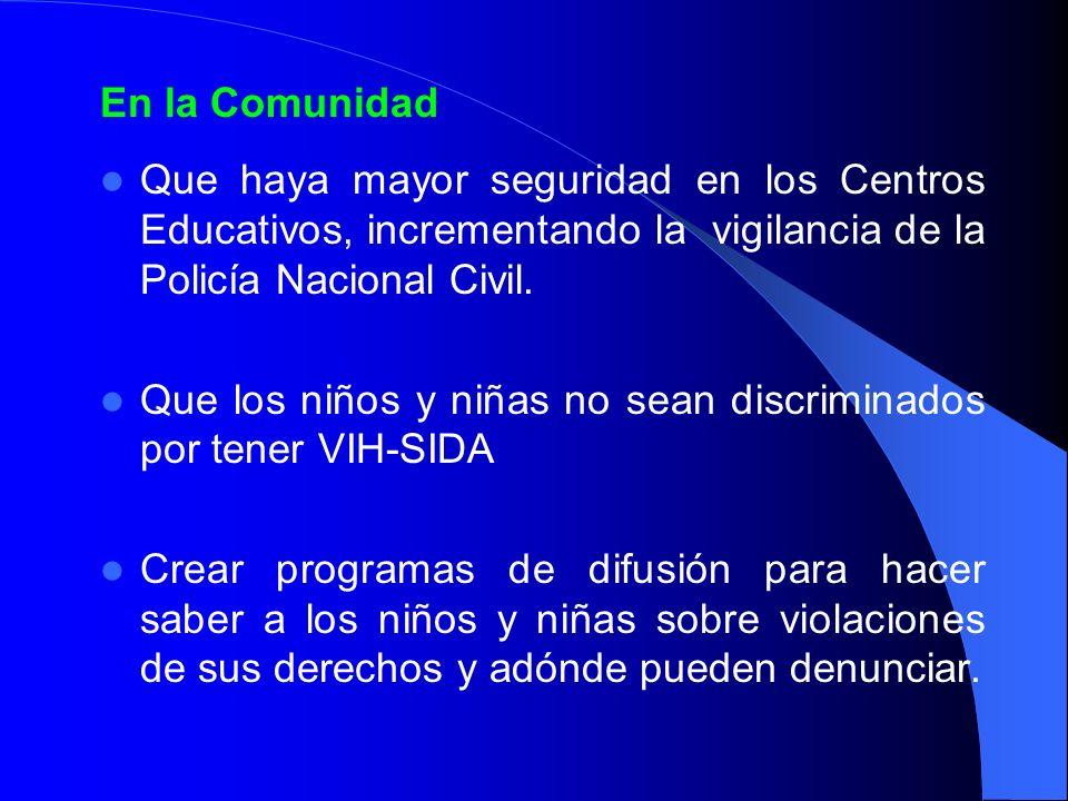 En la Comunidad Que haya mayor seguridad en los Centros Educativos, incrementando la vigilancia de la Policía Nacional Civil. Que los niños y niñas no