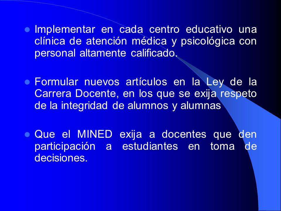 Implementar en cada centro educativo una clínica de atención médica y psicológica con personal altamente calificado. Formular nuevos artículos en la L