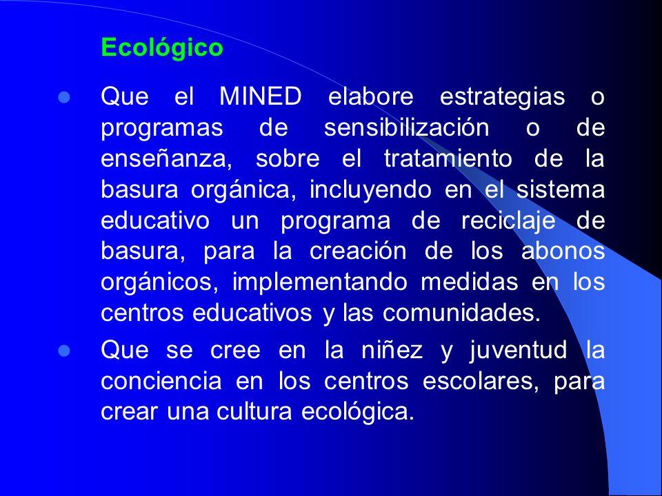 Ecológico Que el MINED elabore estrategias o programas de sensibilización o de enseñanza, sobre el tratamiento de la basura orgánica, incluyendo en el