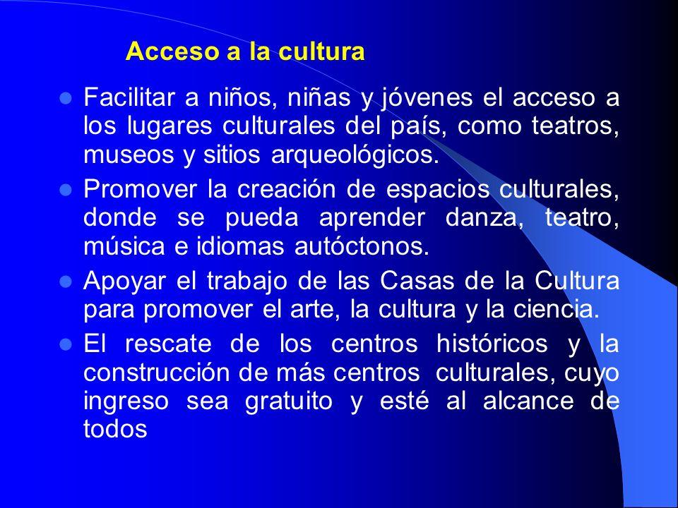 Acceso a la cultura Facilitar a niños, niñas y jóvenes el acceso a los lugares culturales del país, como teatros, museos y sitios arqueológicos. Promo