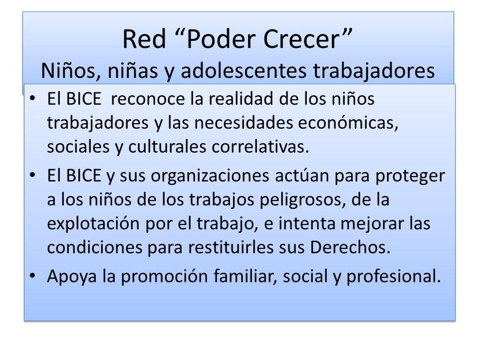 Red Poder Crecer Niños, niñas y adolescentes trabajadores El BICE reconoce la realidad de los niños trabajadores y las necesidades económicas, sociales y culturales correlativas.