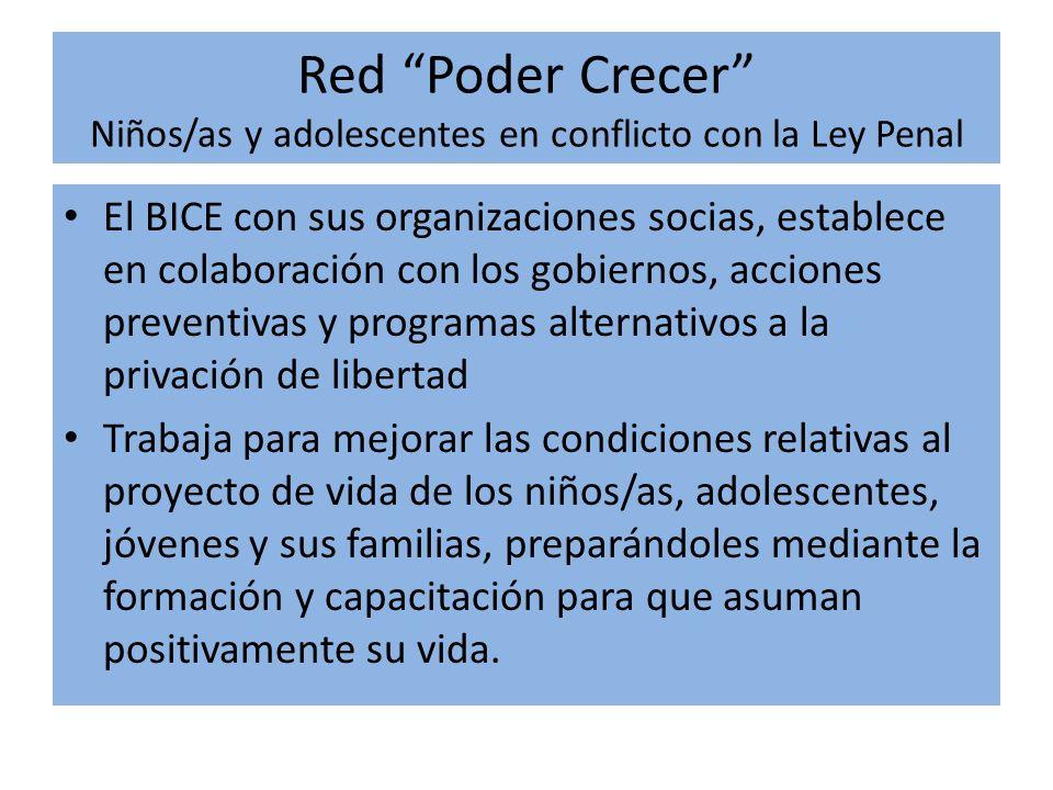 Red Poder Crecer Niños/as y adolescentes en conflicto con la Ley Penal El BICE con sus organizaciones socias, establece en colaboración con los gobier