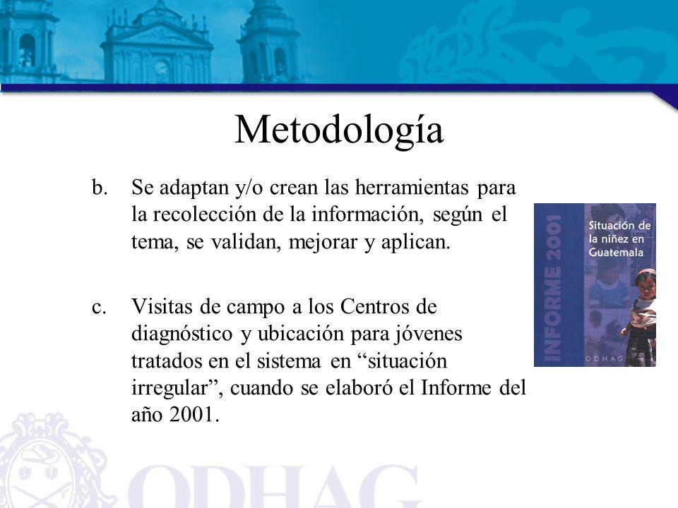 Metodología b.Se adaptan y/o crean las herramientas para la recolección de la información, según el tema, se validan, mejorar y aplican. c.Visitas de