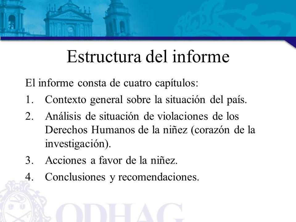 Estructura del informe El informe consta de cuatro capítulos: 1.Contexto general sobre la situación del país.