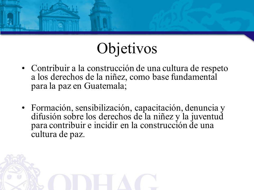 Objetivos Contribuir a la construcción de una cultura de respeto a los derechos de la niñez, como base fundamental para la paz en Guatemala; Formación