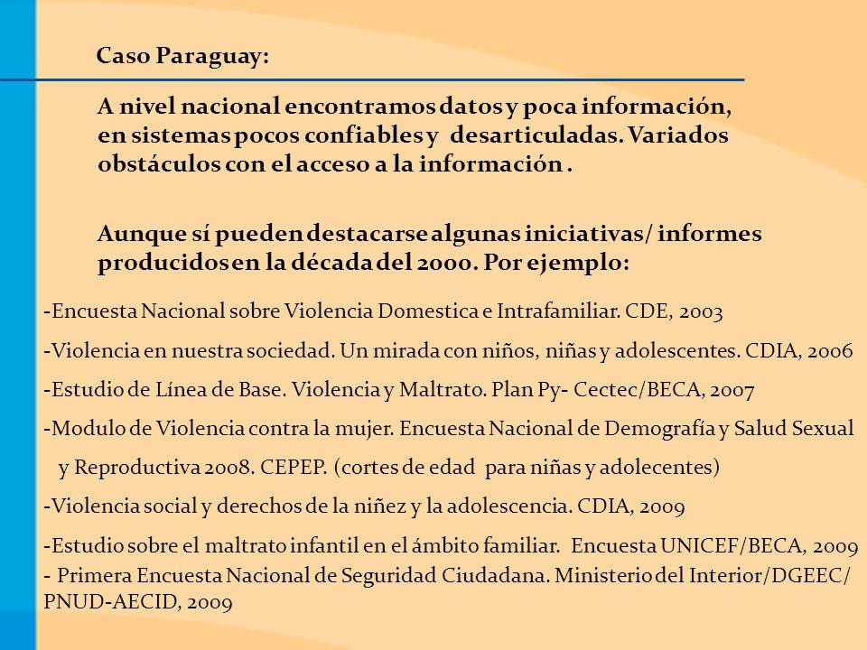 Caso Paraguay: A nivel nacional encontramos datos y poca información, en sistemas pocos confiables y desarticuladas.