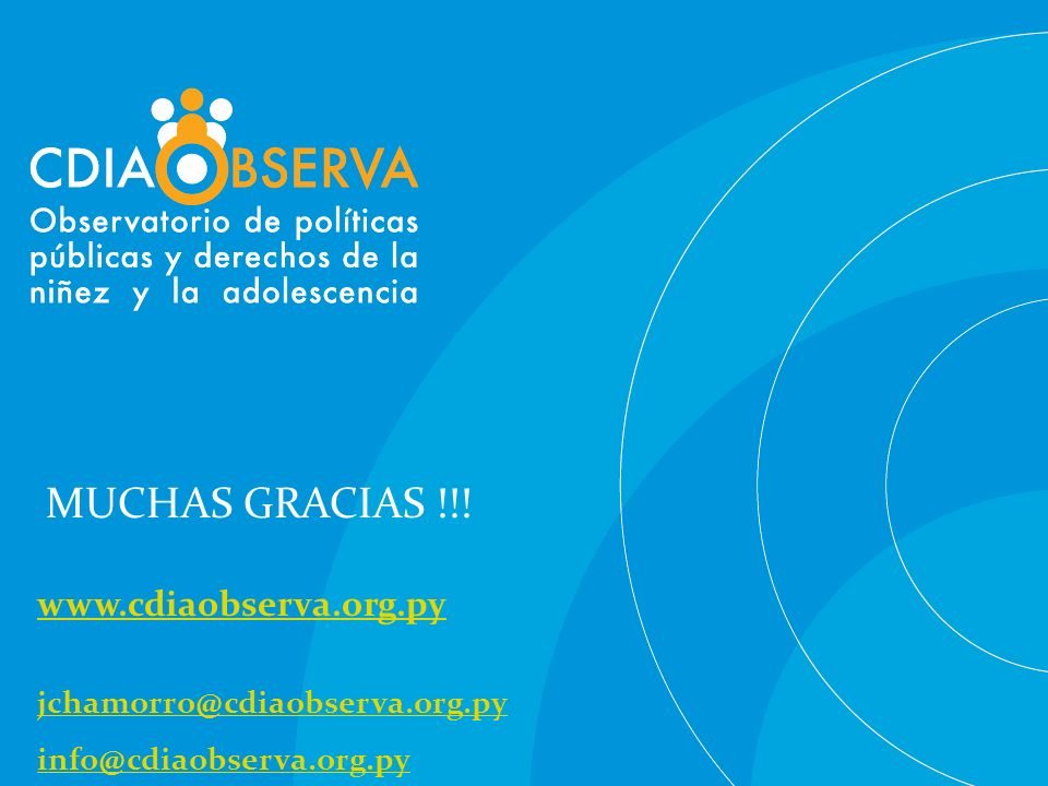MUCHAS GRACIAS !!! www.cdiaobserva.org.py jchamorro@cdiaobserva.org.py info@cdiaobserva.org.py