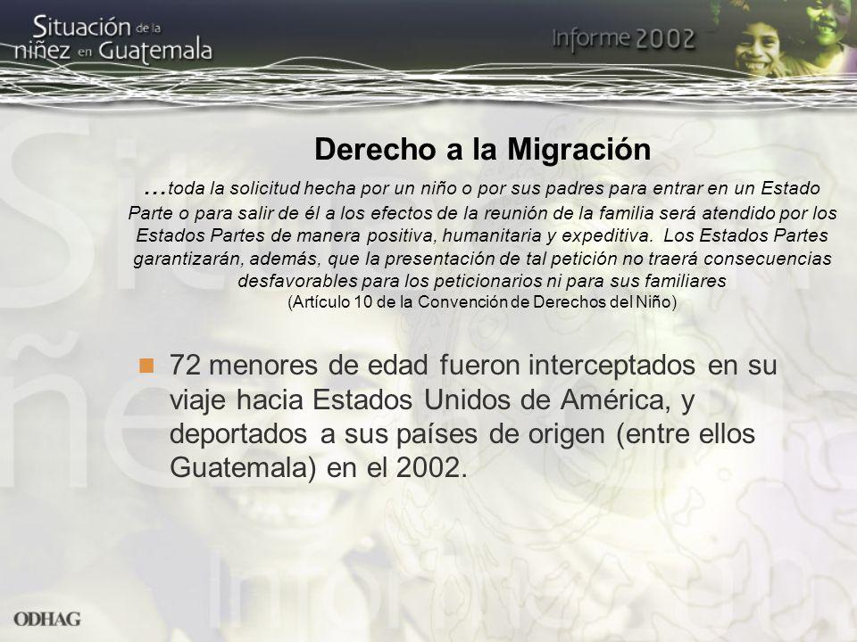 Derecho a la Migración... toda la solicitud hecha por un niño o por sus padres para entrar en un Estado Parte o para salir de él a los efectos de la r