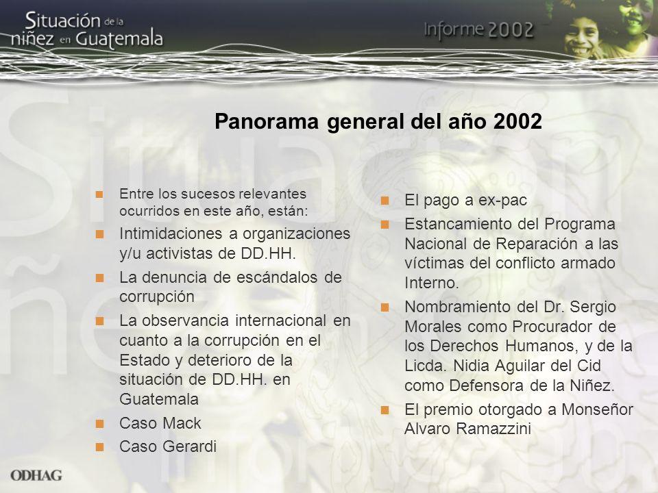Panorama general del año 2002 Entre los sucesos relevantes ocurridos en este año, están: Intimidaciones a organizaciones y/u activistas de DD.HH. La d