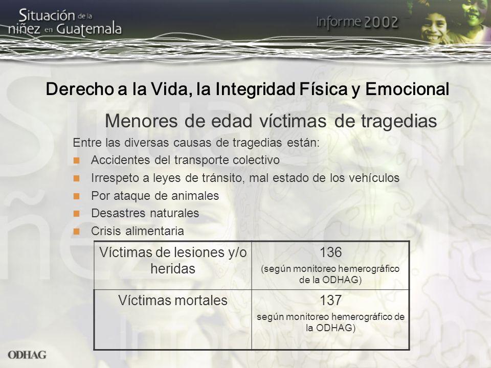 Menores de edad víctimas de tragedias Entre las diversas causas de tragedias están: Accidentes del transporte colectivo Irrespeto a leyes de tránsito,