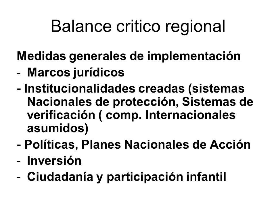 Balance critico regional Medidas generales de implementación -Marcos jurídicos - Institucionalidades creadas (sistemas Nacionales de protección, Sistemas de verificación ( comp.