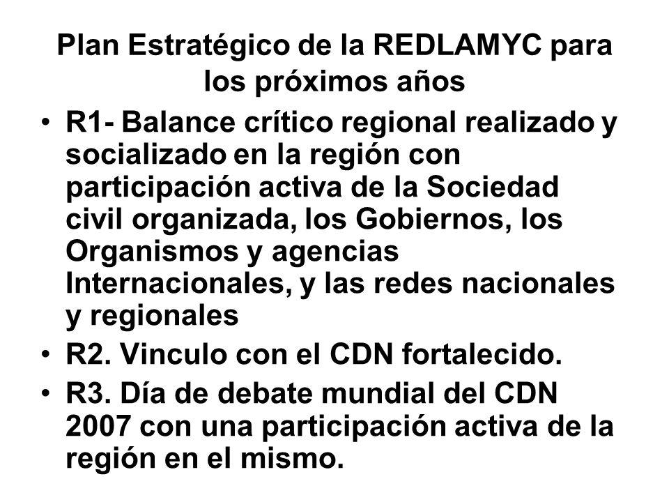 Plan Estratégico de la REDLAMYC para los próximos años R1- Balance crítico regional realizado y socializado en la región con participación activa de la Sociedad civil organizada, los Gobiernos, los Organismos y agencias Internacionales, y las redes nacionales y regionales R2.