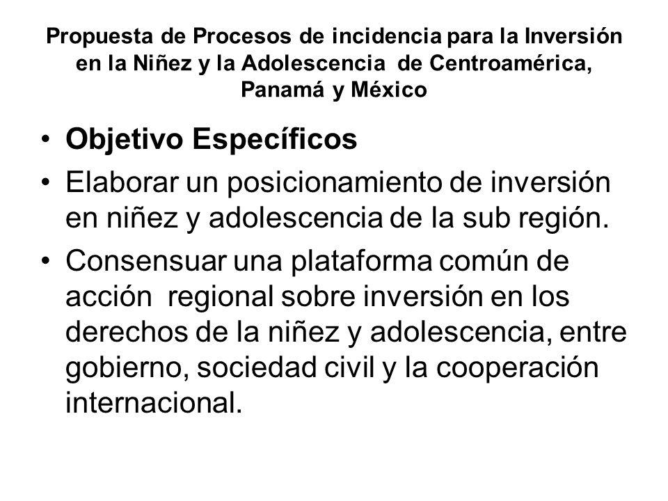 Propuesta de Procesos de incidencia para la Inversión en la Niñez y la Adolescencia de Centroamérica, Panamá y México Objetivo Específicos Elaborar un posicionamiento de inversión en niñez y adolescencia de la sub región.