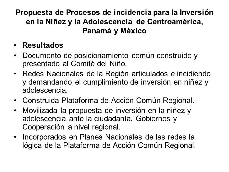 Propuesta de Procesos de incidencia para la Inversión en la Niñez y la Adolescencia de Centroamérica, Panamá y México Resultados Documento de posicionamiento común construido y presentado al Comité del Niño.
