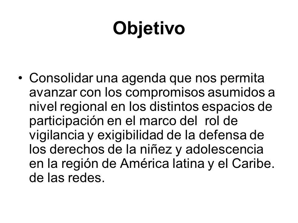 Objetivo Consolidar una agenda que nos permita avanzar con los compromisos asumidos a nivel regional en los distintos espacios de participación en el marco del rol de vigilancia y exigibilidad de la defensa de los derechos de la niñez y adolescencia en la región de América latina y el Caribe.