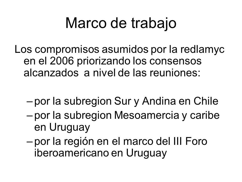Marco de trabajo Los compromisos asumidos por la redlamyc en el 2006 priorizando los consensos alcanzados a nivel de las reuniones: –por la subregion Sur y Andina en Chile –por la subregion Mesoamercia y caribe en Uruguay –por la región en el marco del III Foro iberoamericano en Uruguay