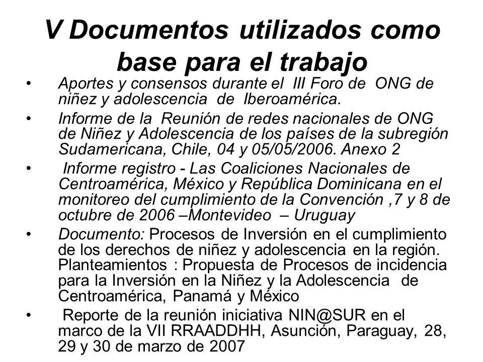 V Documentos utilizados como base para el trabajo Aportes y consensos durante el III Foro de ONG de niñez y adolescencia de Iberoamérica.