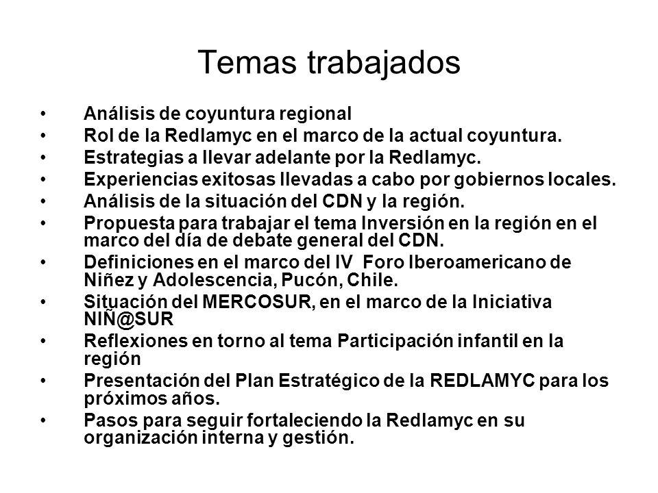 Temas trabajados Análisis de coyuntura regional Rol de la Redlamyc en el marco de la actual coyuntura.
