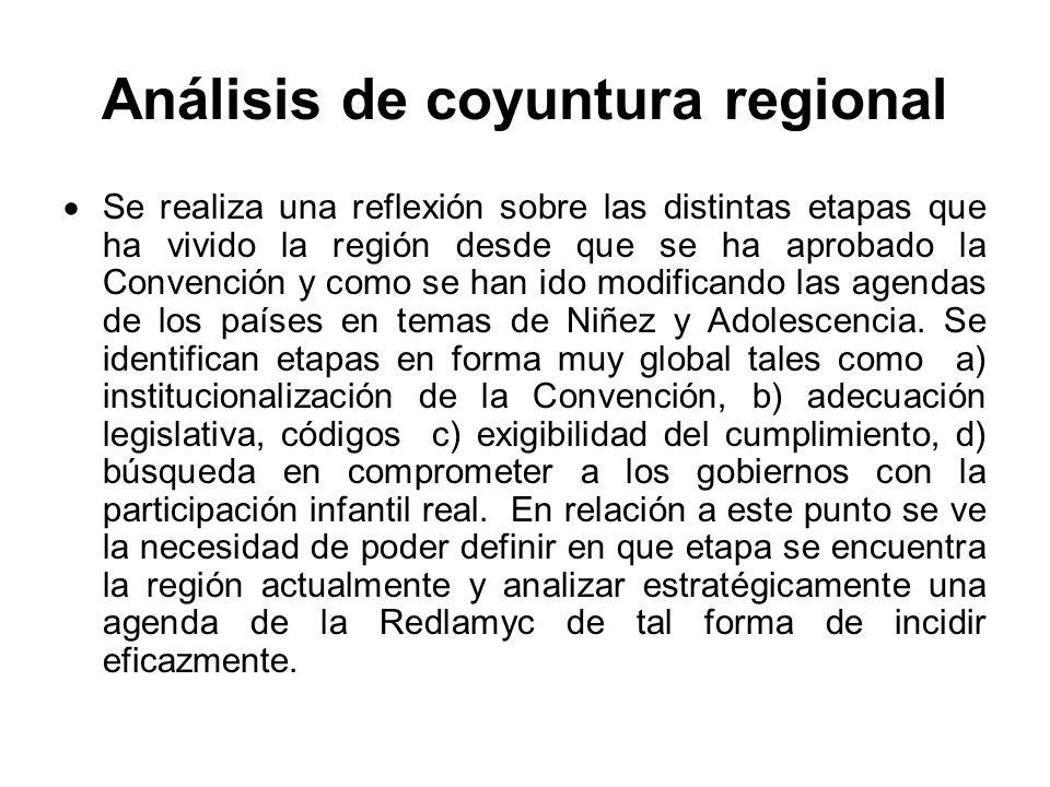 Análisis de coyuntura regional Se realiza una reflexión sobre las distintas etapas que ha vivido la región desde que se ha aprobado la Convención y como se han ido modificando las agendas de los países en temas de Niñez y Adolescencia.