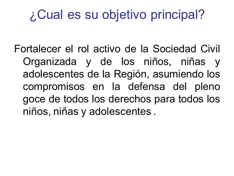 ¿Cual es su objetivo principal? Fortalecer el rol activo de la Sociedad Civil Organizada y de los niños, niñas y adolescentes de la Región, asumiendo