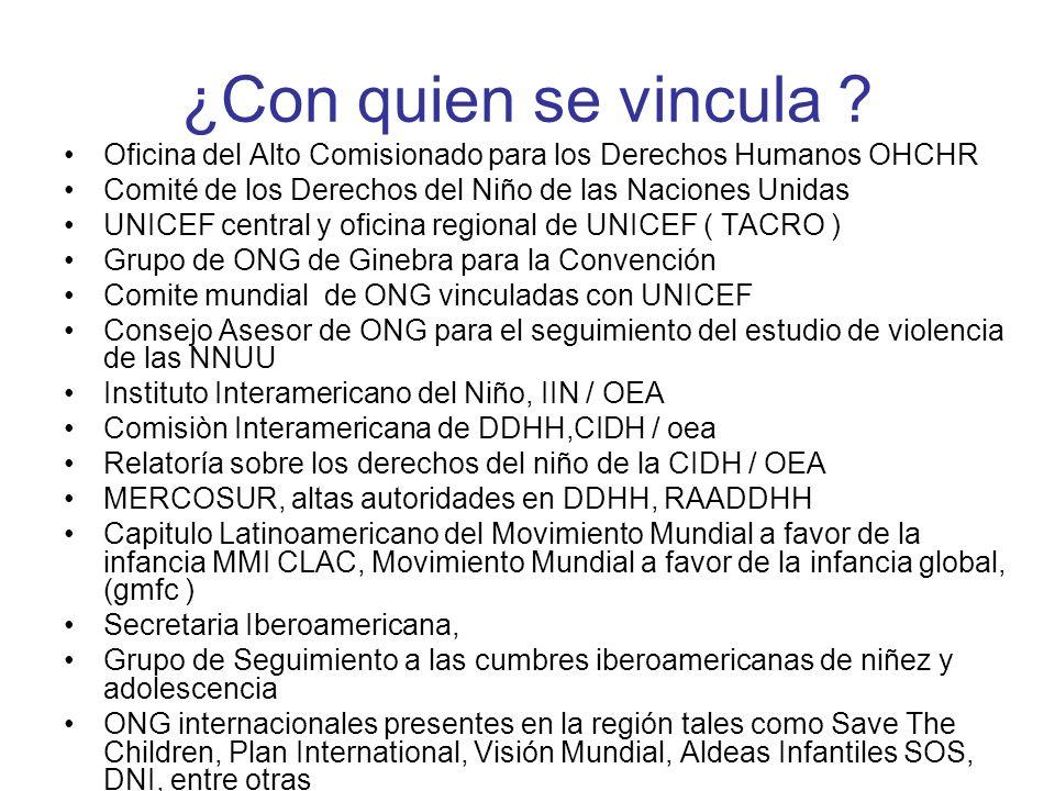 ¿Con quien se vincula ? Oficina del Alto Comisionado para los Derechos Humanos OHCHR Comité de los Derechos del Niño de las Naciones Unidas UNICEF cen