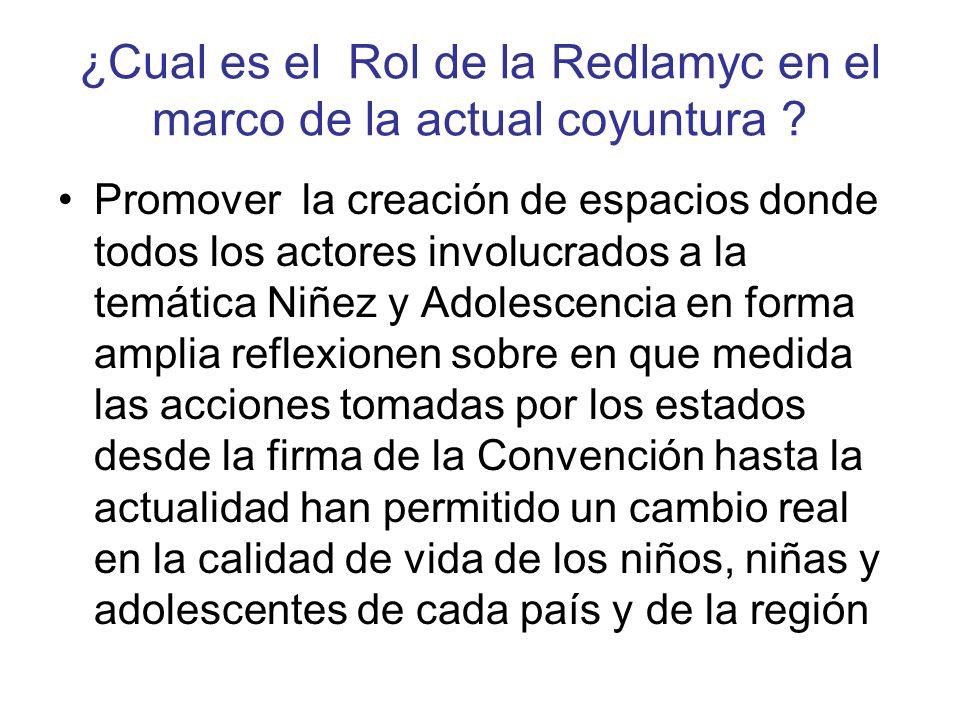 ¿Cual es el Rol de la Redlamyc en el marco de la actual coyuntura ? Promover la creación de espacios donde todos los actores involucrados a la temátic