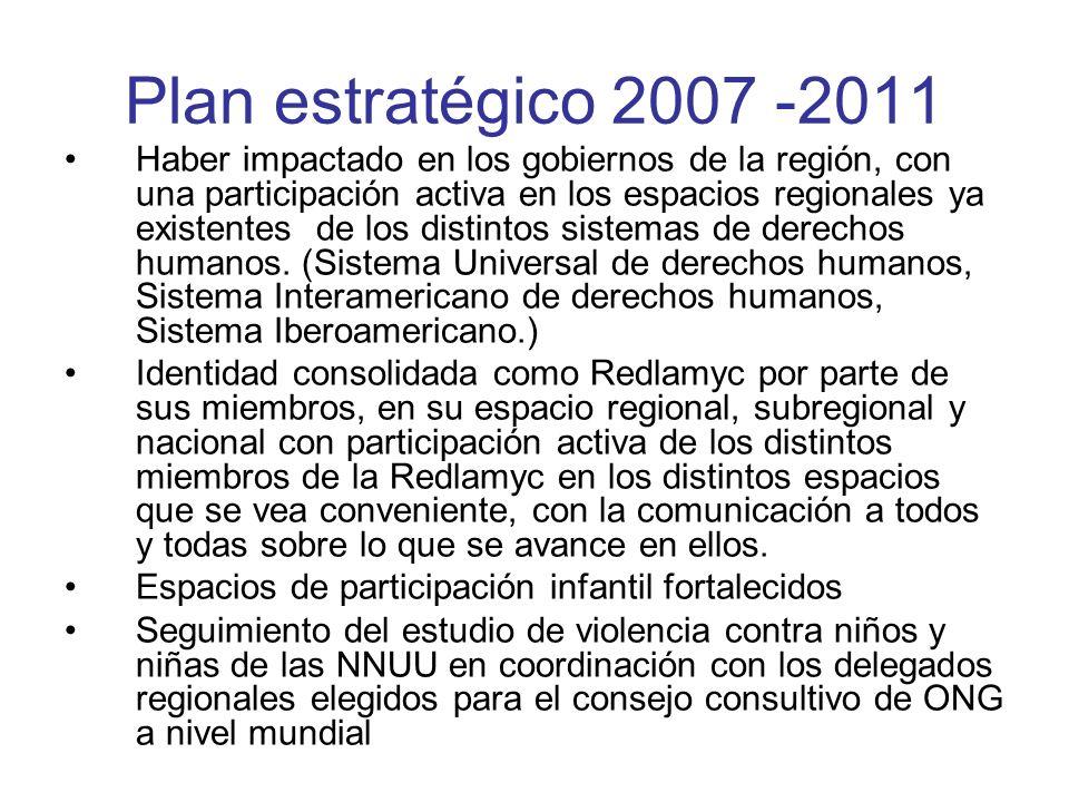 Plan estratégico 2007 -2011 Haber impactado en los gobiernos de la región, con una participación activa en los espacios regionales ya existentes de lo