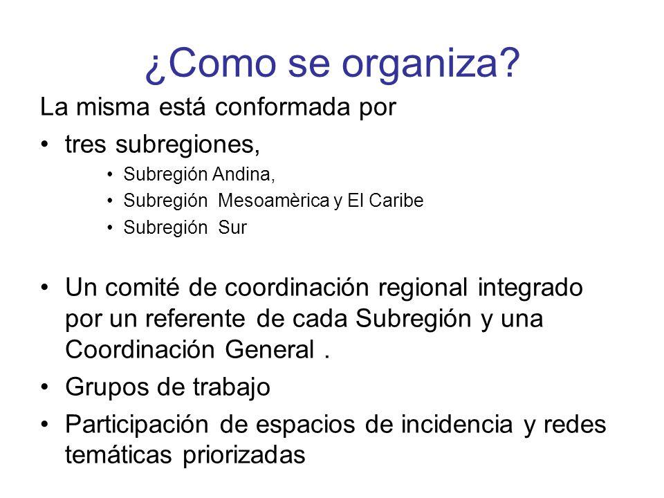 ¿Como se organiza? La misma está conformada por tres subregiones, Subregión Andina, Subregión Mesoamèrica y El Caribe Subregión Sur Un comité de coord