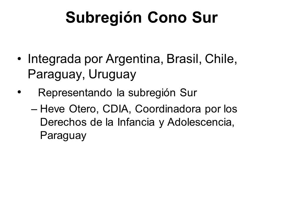 Subregión Cono Sur Integrada por Argentina, Brasil, Chile, Paraguay, Uruguay Representando la subregión Sur –Heve Otero, CDIA, Coordinadora por los De